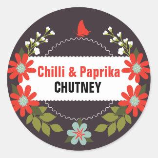 Etiquetas florais do chutney - 3 polegadas ou 1,5