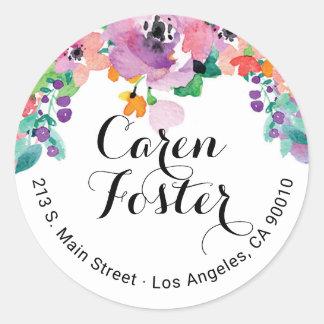 Etiquetas florais do convite do endereço do