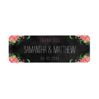 Etiquetas florais do favor do casamento do quadro