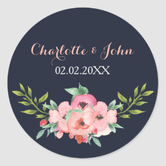 Etiquetas florais românticas do casamento do