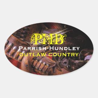 Etiquetas foragidos do Oval do país de PHB Adesivo Oval