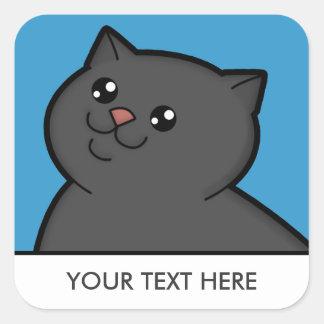 Etiquetas gordas felizes do quadrado do gato preto adesivo quadrado