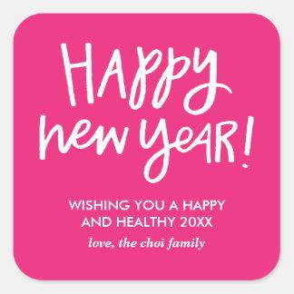 Etiquetas indicadas por letras do feliz ano novo