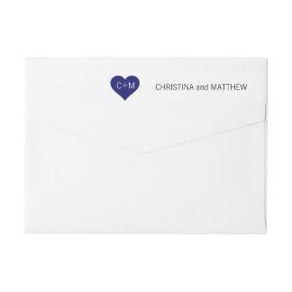Etiquetas Iniciais brancas do coração dos azuis marinhos
