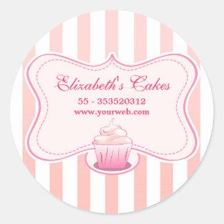 etiquetas leitosas cor-de-rosa do cupcake adesivo