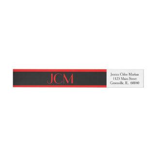 Etiquetas Listra vermelha/preto do monograma no branco
