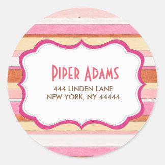Etiquetas listradas coloridas modernas do endereço adesivo