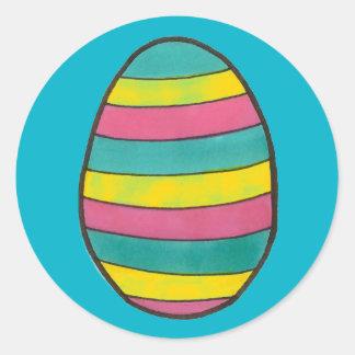 Etiquetas listradas do ovo da páscoa adesivo redondo