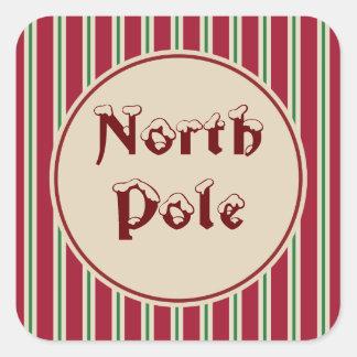 Etiquetas listradas do Pólo Norte Adesivo Quadrado