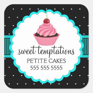 Etiquetas lunáticas de turquesa do cupcake da adesivo quadrado