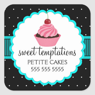 Etiquetas lunáticas de turquesa do cupcake da adesivo em forma quadrada