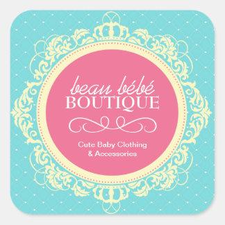 Etiquetas lunáticas do boutique do bebê adesivo em forma quadrada