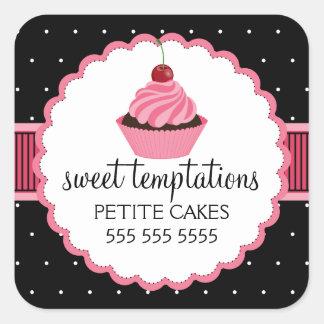 Etiquetas lunáticas do rosa do cupcake da padaria adesivo quadrado