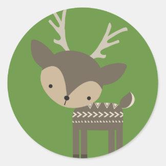 Etiquetas lustrosas redondas da rena do Natal
