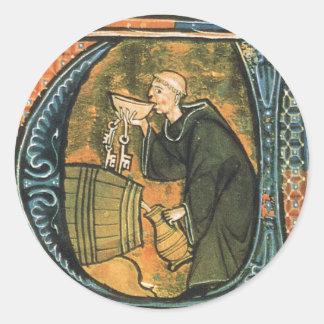 Etiquetas medievais do vinho do provando da monge adesivo