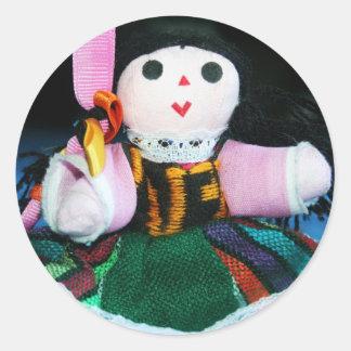 Etiquetas mexicanas da boneca de pano adesivo redondo