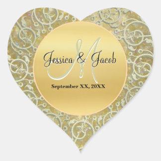 Etiquetas Monogrammed personalizadas do casamento Adesivo Coração