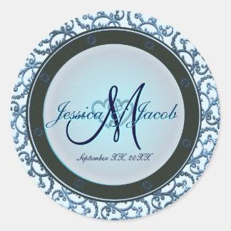 Etiquetas Monogrammed personalizadas do casamento Adesivo