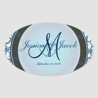 Etiquetas Monogrammed personalizadas do casamento Adesivo Oval