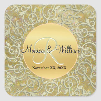 Etiquetas Monogrammed personalizadas do casamento Adesivo Quadrado
