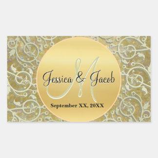 Etiquetas Monogrammed personalizadas do casamento Adesivo Retangular