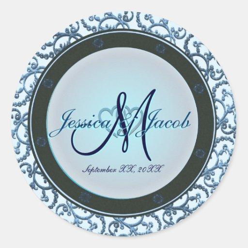 Etiquetas Monogrammed personalizadas do casamento Adesivos Em Formato Redondos