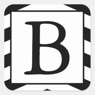 Etiquetas Monogrammed pretas & brancas com texto Adesivo Quadrado