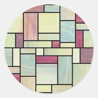 Etiquetas multicoloridos do vitral da aguarela adesivos redondos
