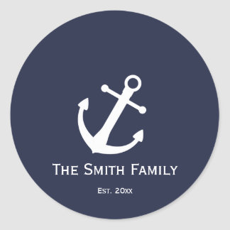 Etiquetas náuticas azuis e brancas feitas sob