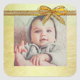 Etiquetas neutras da foto do bebê do género do adesivo quadrado