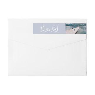 Etiquetas Obrigado tranquilo do casamento da foto dos mares