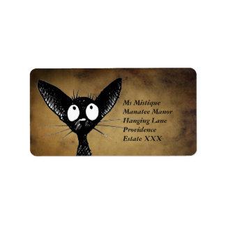 Etiquetas orientais engraçadas do gato preto