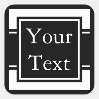 Etiquetas ou etiquetas pretas & brancas com texto adesivo quadrado
