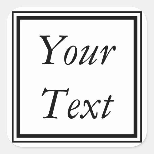 Etiquetas ou etiquetas pretas & brancas com texto adesivo em forma quadrada