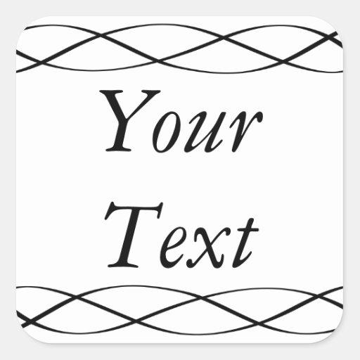Etiquetas ou etiquetas pretas & do branco com adesivo quadrado