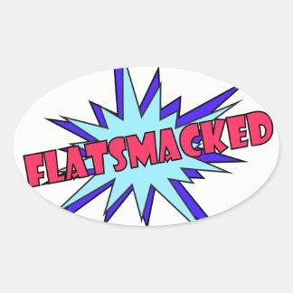 Etiquetas ovais do #FLATSMACKED vermelhas