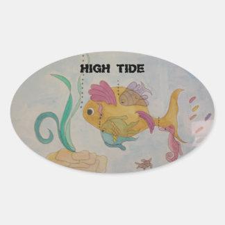 Etiquetas ovais lustrosas w/fish & texto