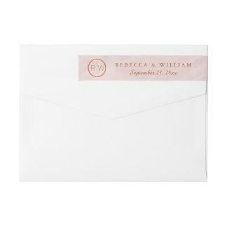 Etiquetas papel de carta cor-de-rosa do casamento do