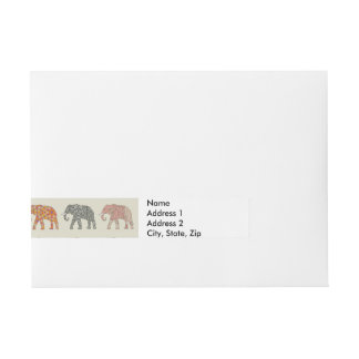 Etiquetas Para Envelope Desenhista colorido dos elefantes