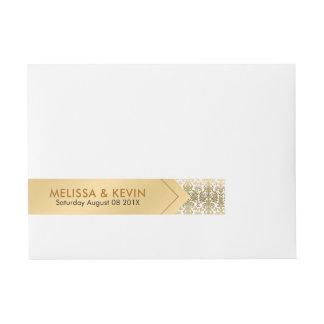 Etiquetas Para Envelope Design geométrico do ouro & dos damascos brancos