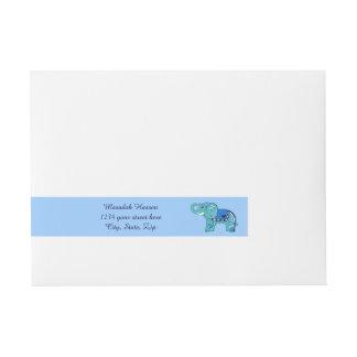Etiquetas Para Envelope Elefante do Henna (azul/luz - azul)