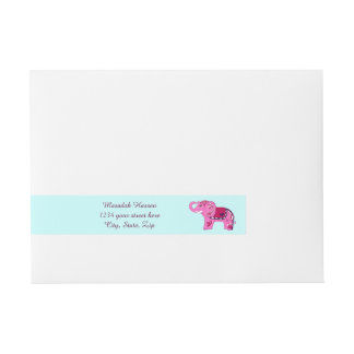 Etiquetas Para Envelope Elefante do Henna (rosa/roxo)