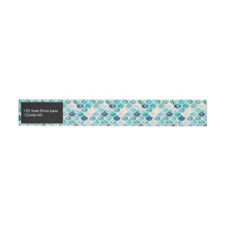 Etiquetas Para Envelope Escalas de peixes da sereia do mármore de turquesa