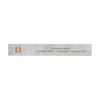 Etiquetas Para Envelope Monograma quadrado de cobre metálico de mármore