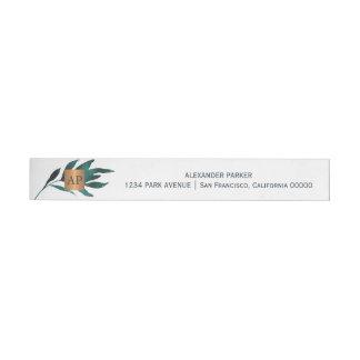 Etiquetas Para Envelope Monogrammed de cobre metálico da folha do azul de
