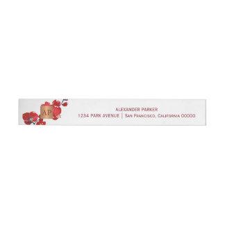 Etiquetas Para Envelope Monogrammed de cobre metálico floral vermelho