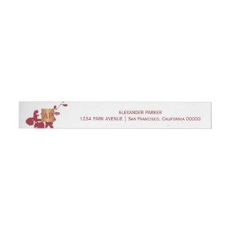 Etiquetas Para Envelope Monogrammed de cobre metálico floral vermelho de