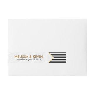Etiquetas Para Envelope Preto moderno & o branco listram o design