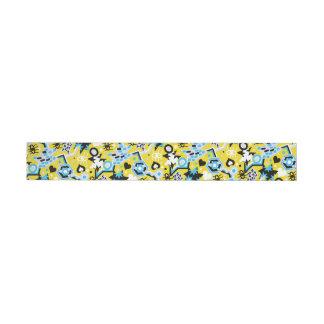 Etiquetas Para Envelope Teste padrão amarelo brilhante legal do pop art do