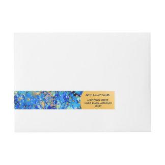 Etiquetas Para Envelope Teste padrão bonito azul do mar elegante com laço